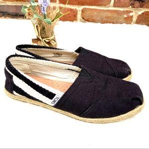 TOMS Black/White Striped Canvas Esparadrilles Shoe